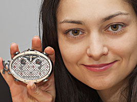 Chess Queen Kosteniuk presents the world's most expensive chess pocket watch by Gangi